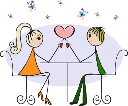 bonhomme allumette: Couple amoureux assis à une table dans un café et de boire du café chaud Illustration
