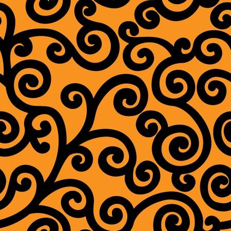대칭: 넓은 검은 곱슬 머리와 원활한 오렌지 배경 일러스트
