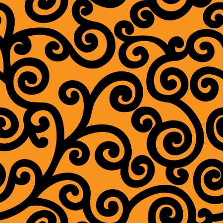 seamless orange background with a wide black curls