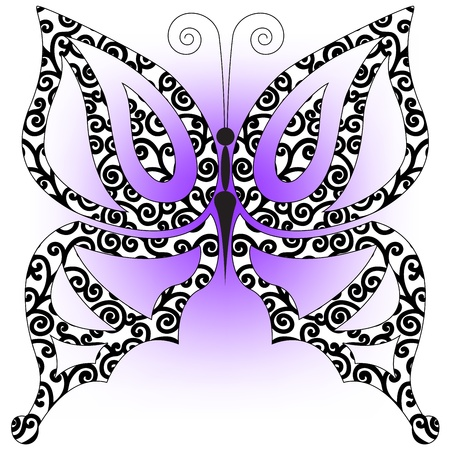 beautiful butterfly of black curls on a lavender background Vector