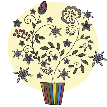flowers in vase: beautiful stylized plant with flowers and berries in a flower pot Illustration