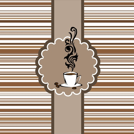 Stylized cup of steaming coffee in a circular frame Vector