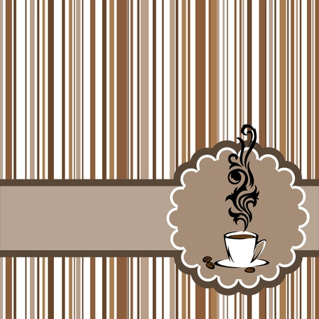 Stylized cup of steaming coffee in a circular frame on the horizontal band Vector