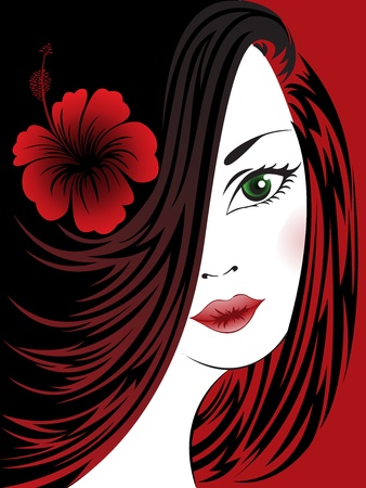 portrait of a beautiful woman with a hibiscus on a black and red Vector