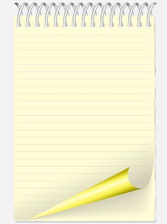 libreta amarilla en línea con una página torcida