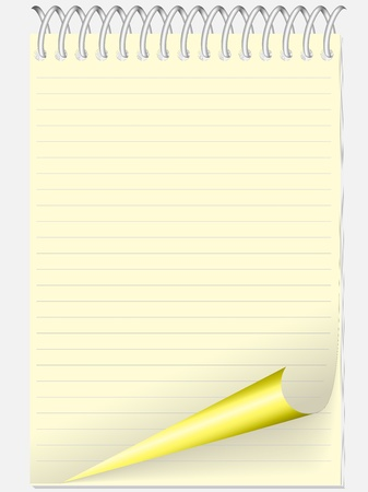 yellow notebook: yellow pad in line with a twisted page