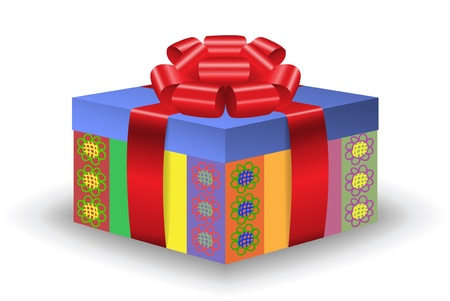 festive box with painted flowers and lush red bow Stock Vector - 10940467
