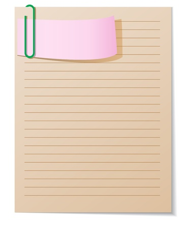 lined paper: brown and pink paper sheets connected by a paperclip