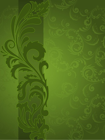 abstract green background with ornaments on the vertical strip Stock Vector - 10940470