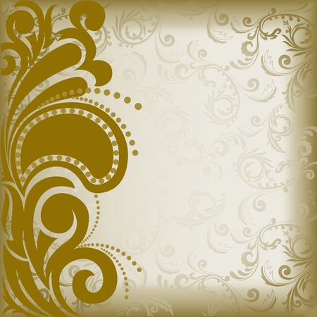 asymmetrical: vintage brown background with asymmetrical florid ornament Illustration