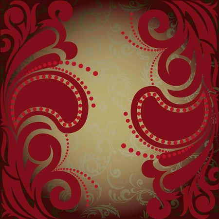 florid: vintage burgundy background with florid ornament
