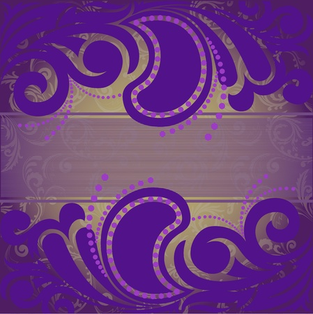 abstract purple background with ornaments on the horizontal strip Vector