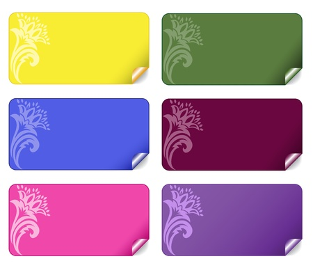 name tag: collection of beautiful multi-colored stickers with an ornament Illustration