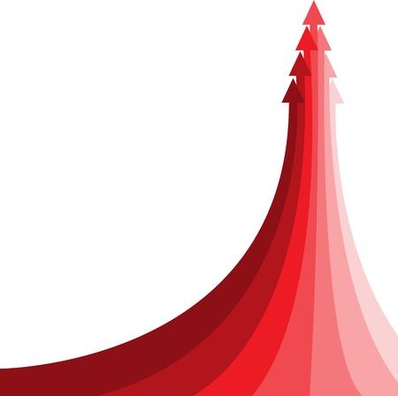 rosnąco: Wielka czerwona strzaÅ'ka skÅ'adajÄ…ca siÄ™ z kilku maÅ'ych