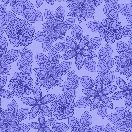 Beautiful seamless background of blue flowers Vector
