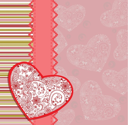 Postcard with an openwork heart on a striped background