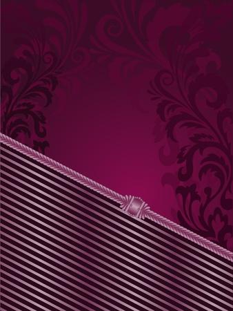 slanted: fondo morado con rayas verticales y adornos de filigrana Vectores