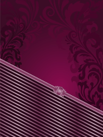 solemn: vertical purple background with stripes and filigree ornaments Illustration