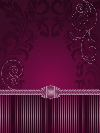 brocade: vertical purple background with stripes and ornaments