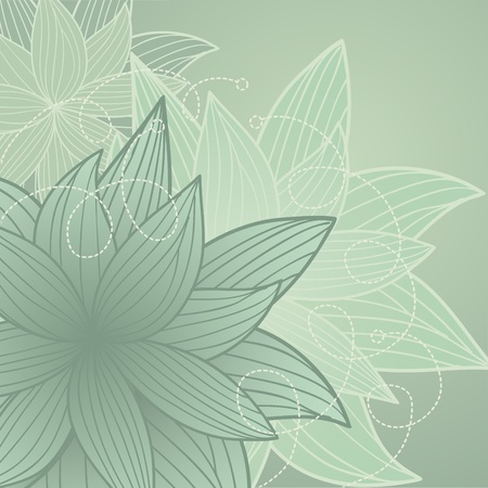 beautiful background with gray-green handdrawn  flowers Vector