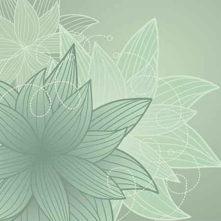 monochroom: mooie achtergrond met grijs-groene bloemen handgetekende