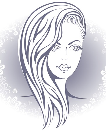 Glamour  beautiful blonde girl  on the gray background of the flower Stock Vector - 11007083