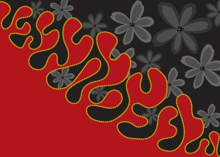 Black and red background with black flowers Vector