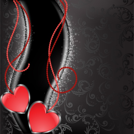 two glossy red heart with chains on a black background