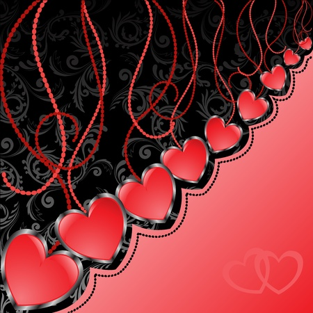 satiny: glossy red hearts hanging diagonal on black and red background Illustration