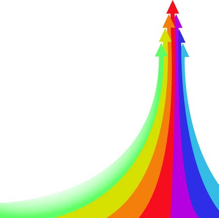 flow of colors: Large rainbow arrow of a few small Illustration
