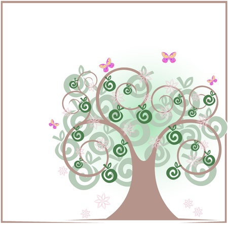 beautiful apple tree with flowers and butterflies Stock Vector - 11118817