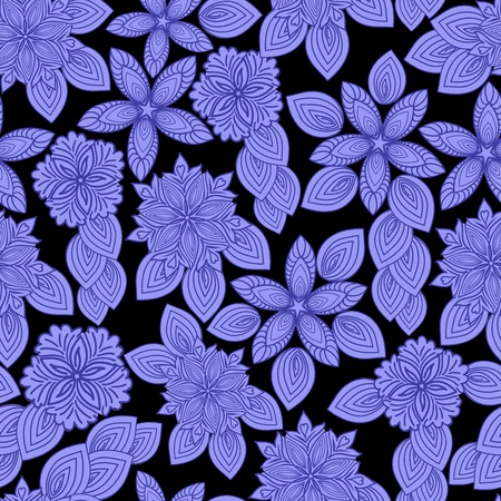 seamless pattern of blue flowers on a black background Vector