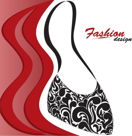 purses: abstract red and white background with a graceful feminine handbag Illustration