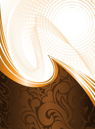 abstract brown background with ornament and orange waves Vector