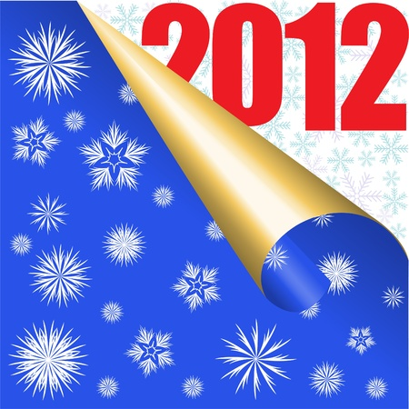 tempting: blue background with snowflakes and large numbers 2012 Illustration