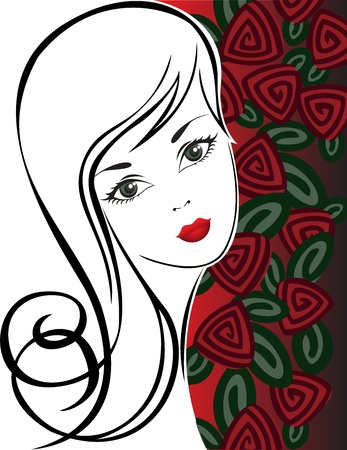 black and white sketch of a beautiful girl on a background of roses Stock Vector - 11118823