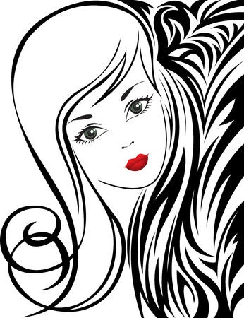 sketch of a beautiful girl on abstract black and white background Stock Vector - 11118824
