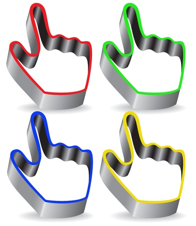 set of colorful pointers in the shape of the hand Vector