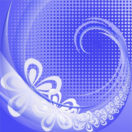 Abstract blue floral background with white swirl and waves Stock Vector - 11118831