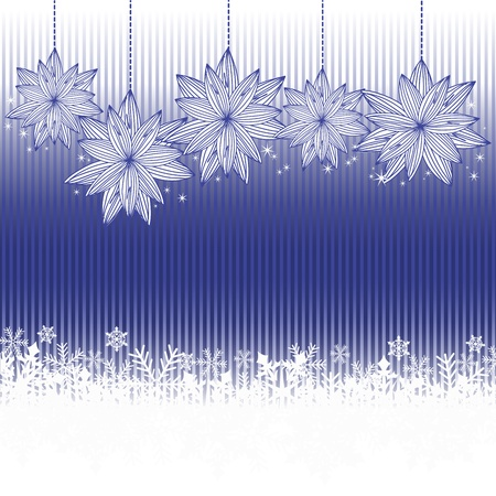 Blue striped background with snowflakes and Christmas Decorations Vector