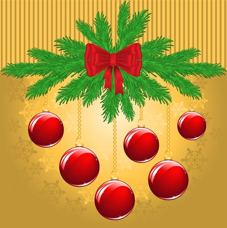 New Years golden background with fir branches and red balls Vector