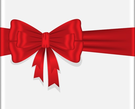 beautiful shiny red bow on a horizontal ribbon