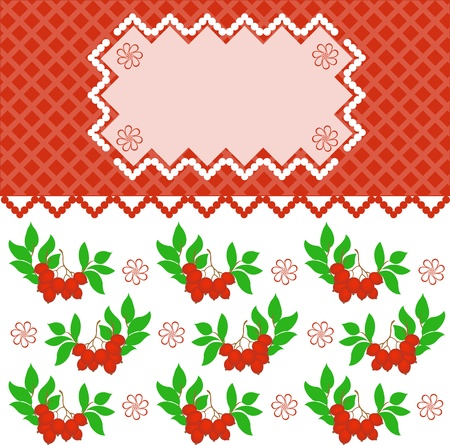 rowanberry: pink frame on a plaid background with branches rowanberry Illustration