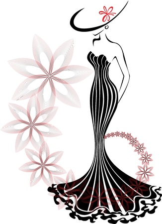 slender woman in a long dress on a white background with a floral swirl