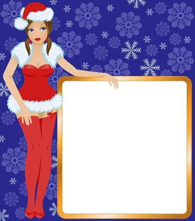 Snow Maiden in the red dress with gold-colored square poster Stock Vector - 11283213