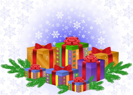 firry: Christmas  composition of gift boxes and fir branches