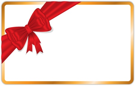 gilded card with beautiful red bow diagonally