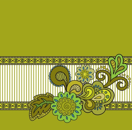 mustard: Flower composition on mustard background with stripes Illustration