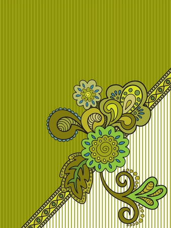 folkloric: green floral composition on the striped background of mustard Illustration