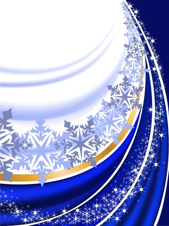 folds: abstract blue New Years background with  folds and snowflakes